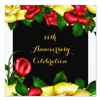 Elegant Anniversary Party Red Yellow Roses 3 13 Cm X 13 Cm Square Invitation Card