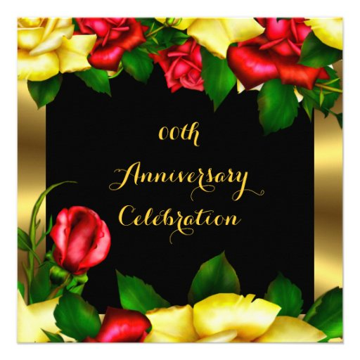 Elegant Anniversary Party Red Yellow Roses 4 Personalized Invitation