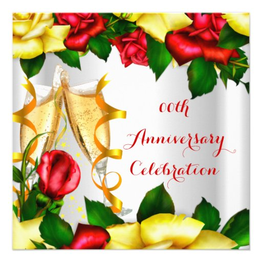 Elegant Anniversary Party Red Yellow Roses Personalized Announcement