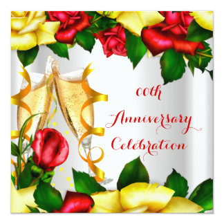 Elegant Anniversary Party Red Yellow Roses 13 Cm X 13 Cm Square Invitation Card