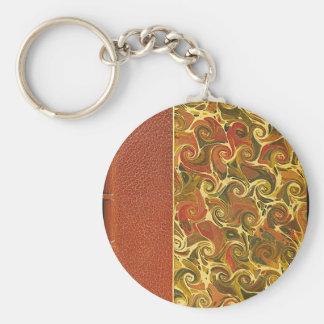 Elegant Antique Book, Ornate Swirl Pattern Basic Round Button Key Ring