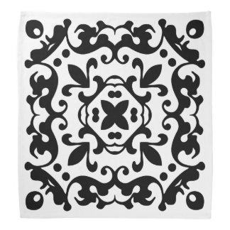 Elegant Antique Damask Black and White Pattern Bandana