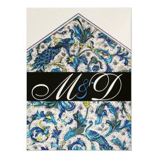 ELEGANT ANTIQUE FLORENTINE BLUE FLORAL MONOGRAM 14 CM X 19 CM INVITATION CARD