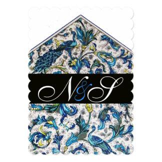 ELEGANT ANTIQUE FLORENTINE BLUE FLORAL MONOGRAM INVITATION