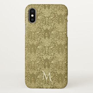 Elegant Antique Gold Damask Monogram iPhone X Case