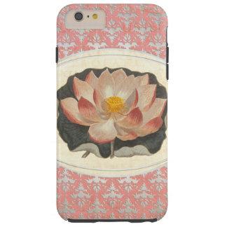 Elegant Antique Lotus Lily Peach Damask Tough iPhone 6 Plus Case