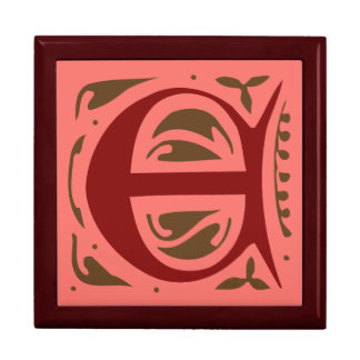 Elegant antique medieval letter E Large Square Gift Box
