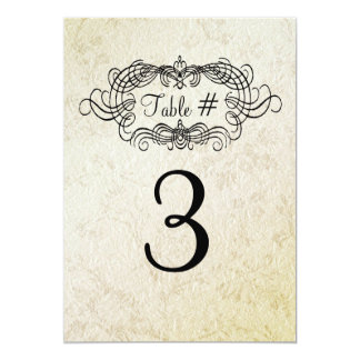 Elegant Antique Style Wedding Table Number Card 13 Cm X 18 Cm Invitation Card