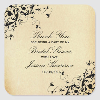 Elegant Antique Swirls Bridal Shower Thank You Square Sticker
