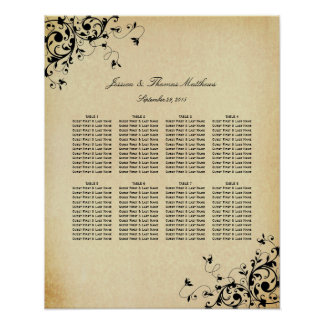 Elegant Antique Swirls Wedding Seating Chart