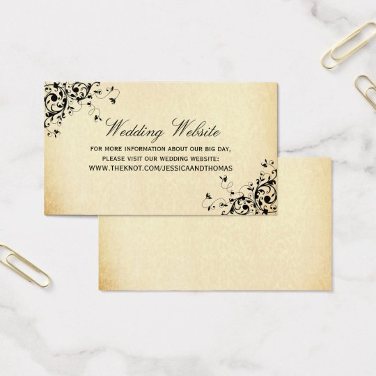 Elegant Antique Swirls Wedding Website Business Card
