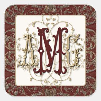 Elegant Antiqued Gold Baroque Monogrammed Seals Square Sticker