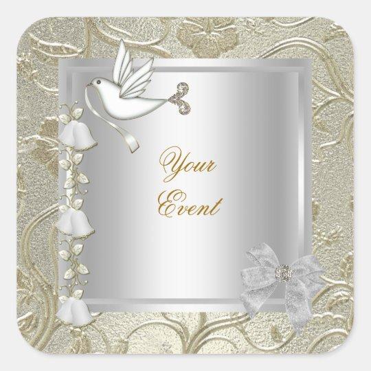 Elegant Any Event Gold Silver White Dove Damask