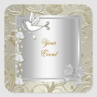 Elegant Any Event Gold Silver White Dove Damask Square Sticker