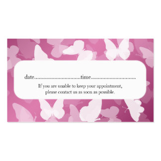 Elegant Appointment Card Butterflies Pink Pack Of Standard Business Cards