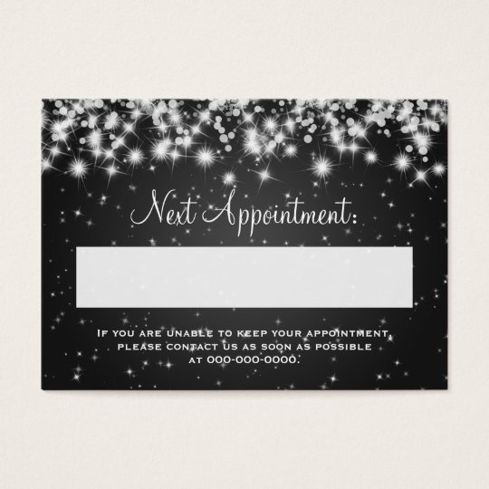 Elegant Appointment Card Winter Sparkle Black
