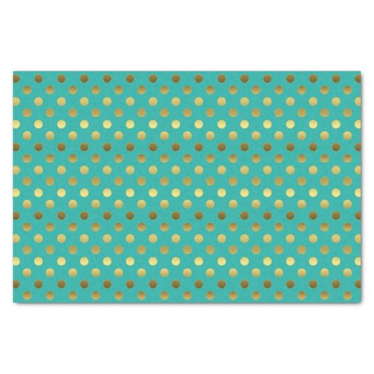 Elegant Aqua and Golden Polka Dot Tissue Paper