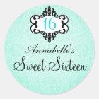 Elegant Aqua & Black Chic Damask Sweet 16 Sticker