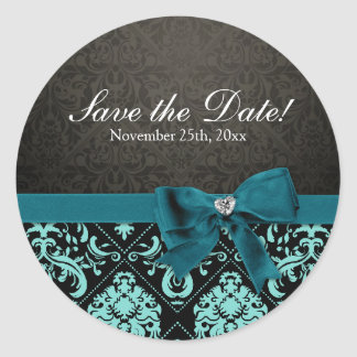 Elegant Aqua Blue and Black Damask Save the Date Round Sticker
