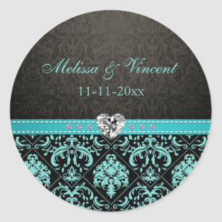 "Elegant Aqua Blue / Black Damask ""Bride & Groom"" Round Sticker"