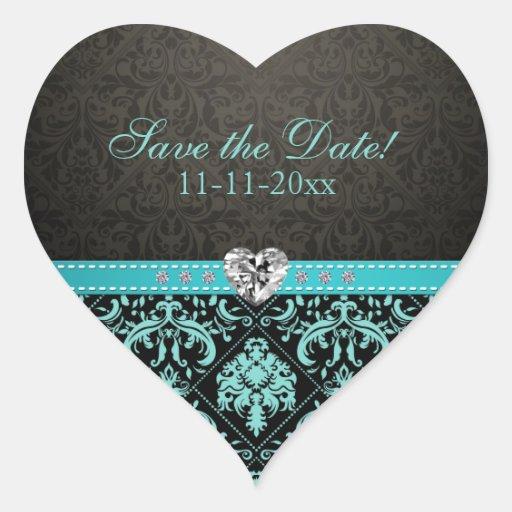 "Elegant Aqua Blue / Black Damask ""Save the Date"" Sticker"