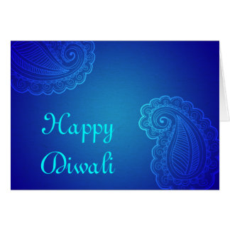 Elegant Aqua Blue Paisley Happy Diwali Card