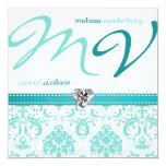 Elegant Aqua blue Sweet Sixteen Birthday Invites 13 Cm X 13 Cm Square Invitation Card