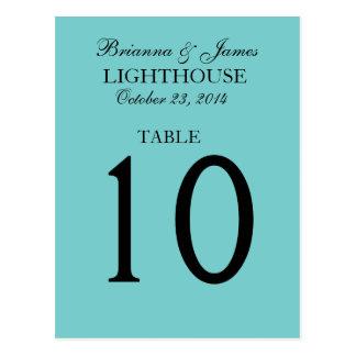 Elegant Aqua Blue Wedding Table Number Card