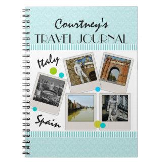 Elegant Aqua Damask Travel Journal and Photos