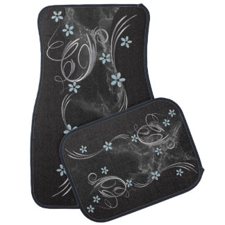 Elegant Aqua Floral and Marble Design Car Mat