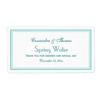 Elegant Aqua Framed 2H Water Bottle Label