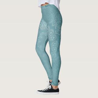 Elegant Aqua Mandala Leggings