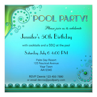Elegant Aqua Pool Party Invitation
