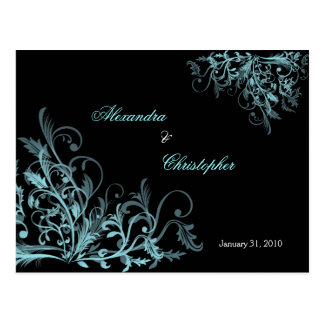Elegant Aqua Swirls Save the Date Announcement Postcard