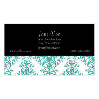 Elegant Aqua Turquoise over White Damask Pattern Business Card