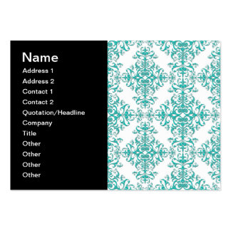Elegant Aqua Turquoise over White Damask Pattern Pack Of Chubby Business Cards