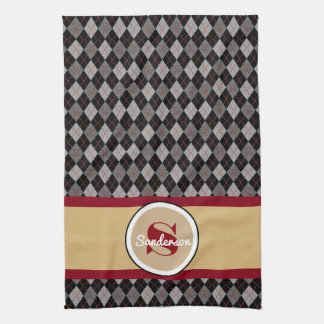 Elegant Argyle w/Name Golf or Tea Towel