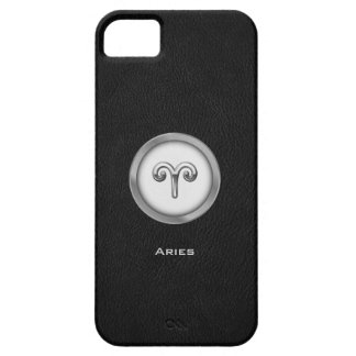 Elegant Aries Zodiac Sign with Black Leather | iPhone 5 Cover
