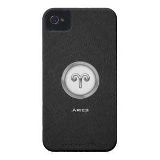 Elegant Aries Zodiac Sign with Black Leather | iPhone 4 Case