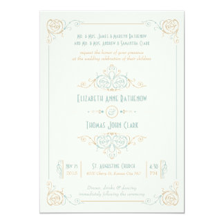 Elegant Art Deco Blue & Cream Wedding Invitations