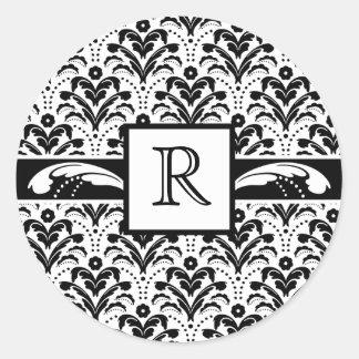 Elegant Art Deco Floral Damask Custom Monogram Round Sticker