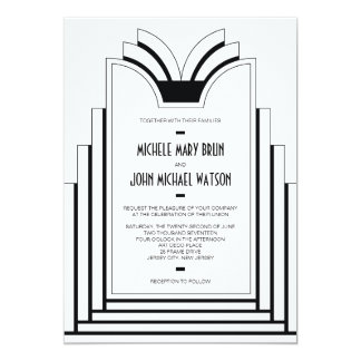 Elegant Art Deco Frame Retro Wedding Invitation