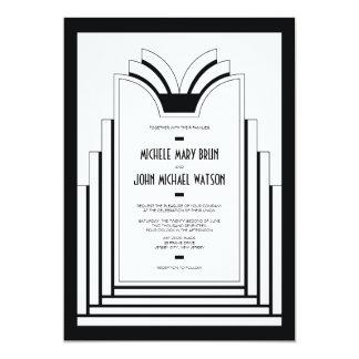 Elegant Art Deco Frame Retro Wedding Invitation