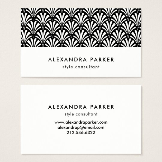 Elegant Art Deco Pattern | Black and White Business Card