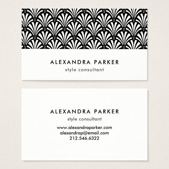 Elegant Art Deco Pattern | Black and White Business Card