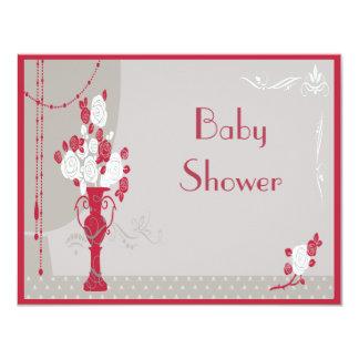Elegant Art Deco Red & White Roses Baby Shower 11 Cm X 14 Cm Invitation Card