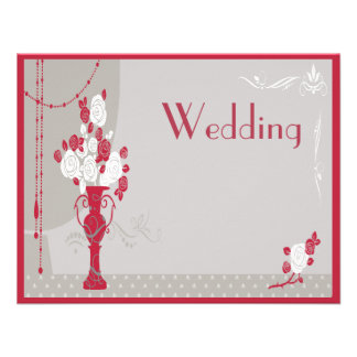 Elegant Art Deco Red & White Roses Wedding Invites