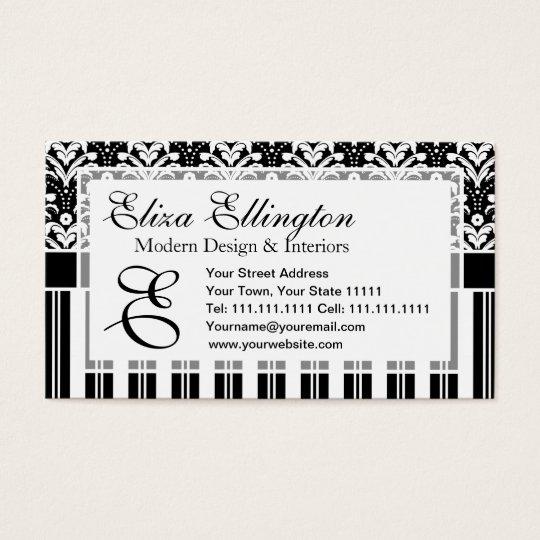 Elegant Art Deco Vintage Floral Damask and Stripes Business Card
