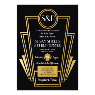 Elegant Art Deco Wedding Invitations Black Gold