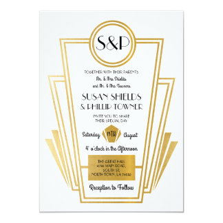 Elegant Art Deco Wedding Invitations White Gold